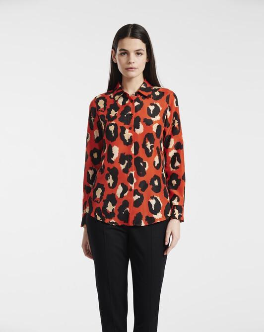 Large leopard print crepe de chine shirt - Orange / noir