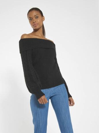 Pull en alpaga, laine et coton - Noir