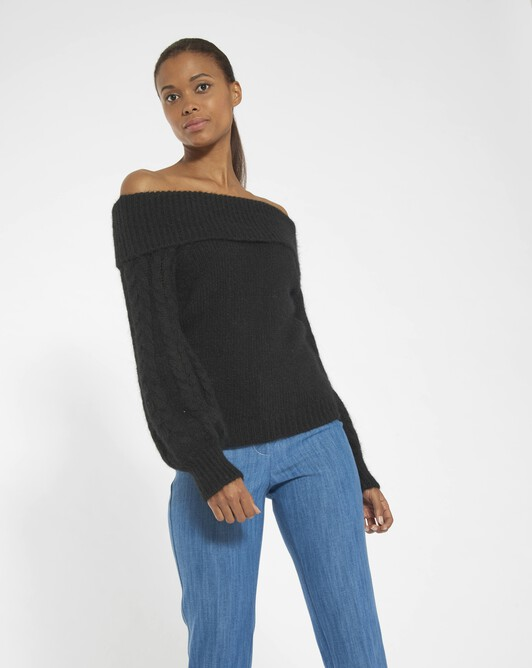 Alpaca, wool and cotton sweater - Noir
