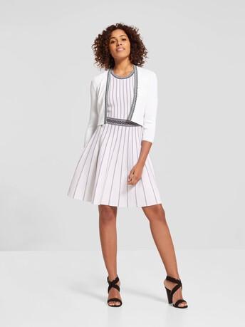 Veste courte en  viscose - Blanc / noir