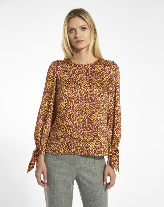 Panther print twill top - Bordeaux / jaune