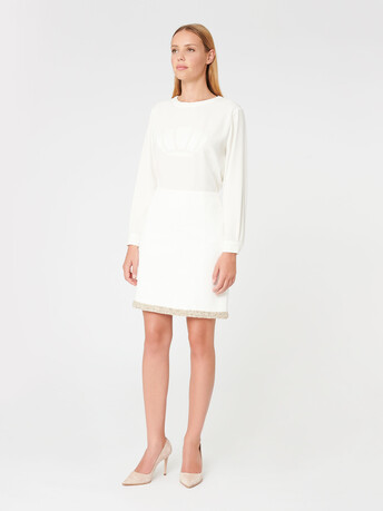 Plumetis canvas skirt - Off white