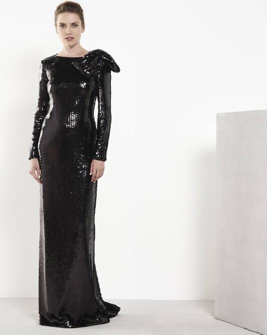 Robe en petits sequins rectangulaires - noir