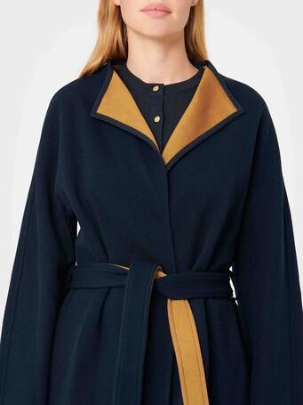 Two-tone serge coat - Marine / caramel