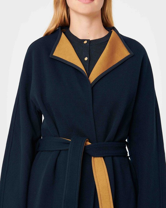 Two-tone serge coat - Marine / caramel