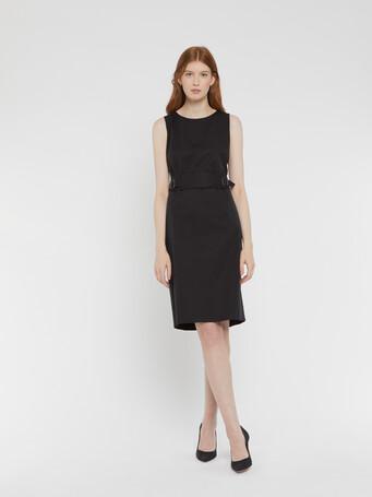 Stretch-satin poplin dress - Noir