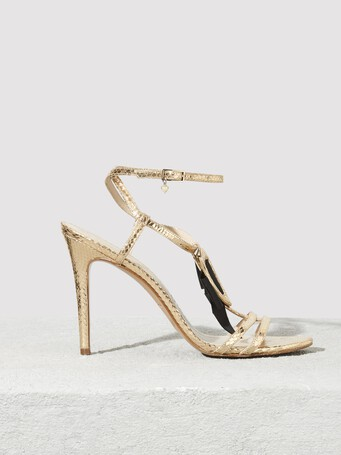 Python-print leather sandals - Or