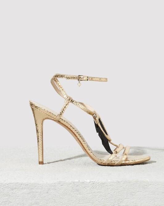 Sandales en cuir imprimé python - Or