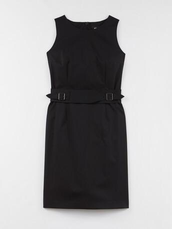 Robe en popeline satinée stretch - Noir