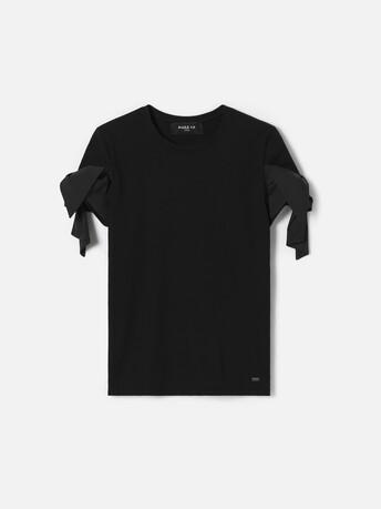 T-shirt en jersey de coton stretch - Noir
