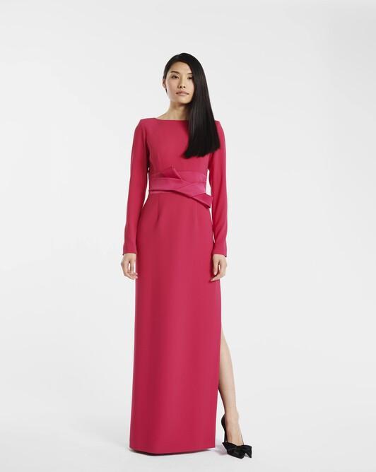 Robe longue en crêpe envers satin - Framboise
