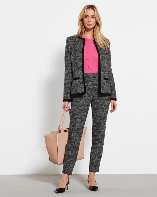 Pantalon droit en tweed chiné