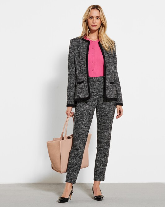 Marled-tweed straight-leg pants - Noir