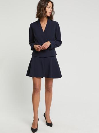 Satin-back crepe skirt - Navy blue