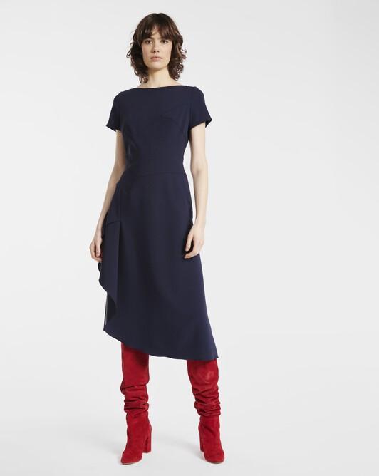 Dress in satin-back crepe - Navy blue