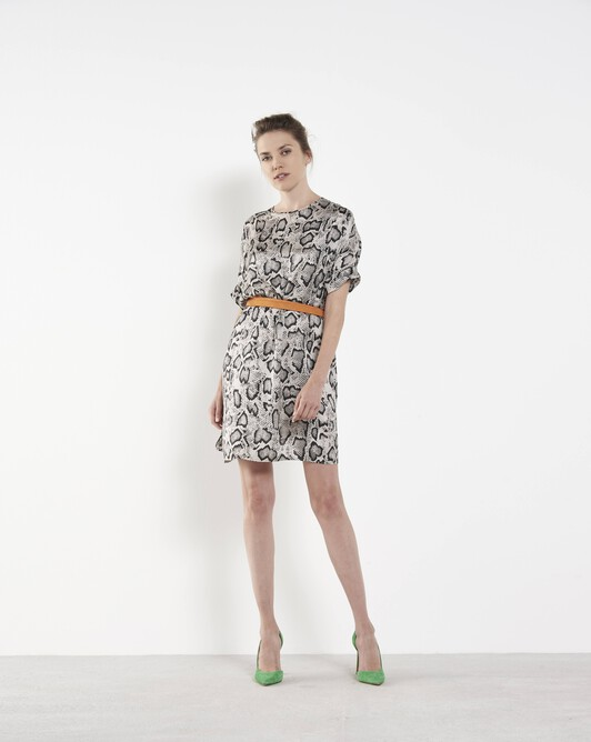Python printed satin dress - Mastic