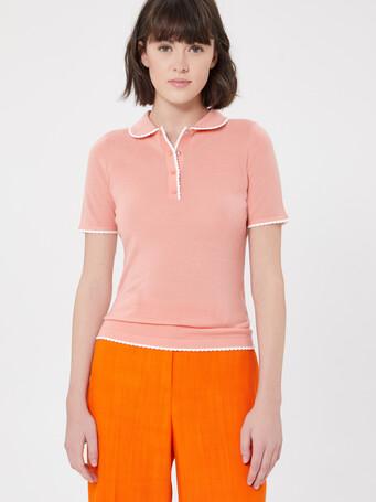 Merino wool sweater - Eau de rose / blanc casse