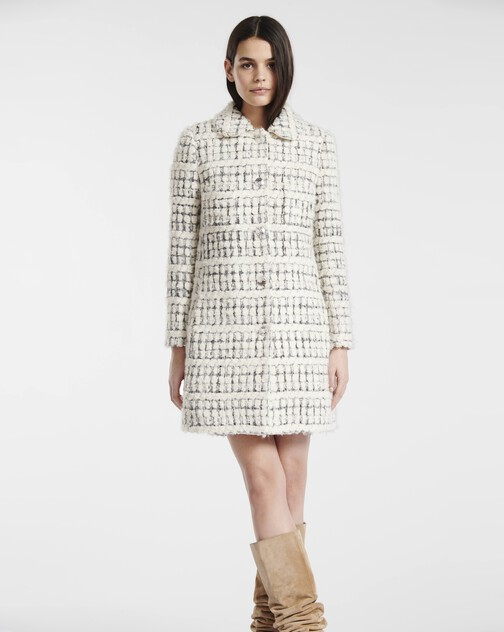 Silver and boucle tweed coat