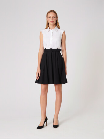 Cotton poplin dress - White / black