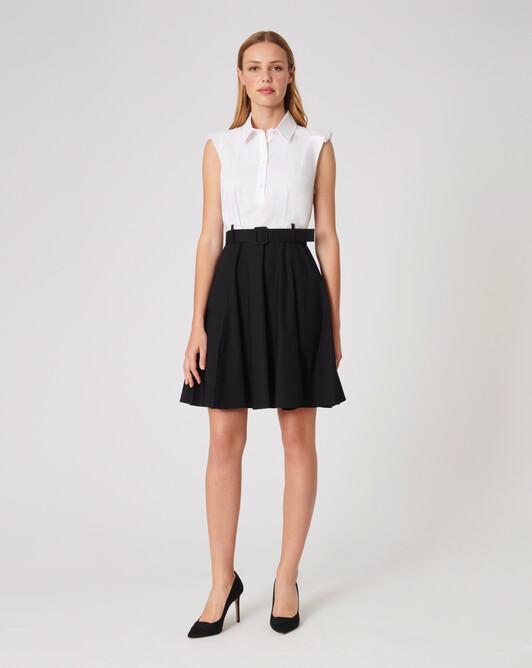 Robe en popeline de coton - Blanc / noir
