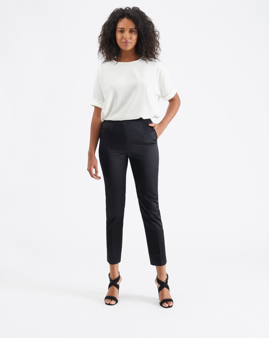 Satin-poplin pants - Noir