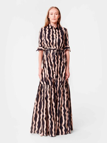 Print poplin gown - Poudre / noir