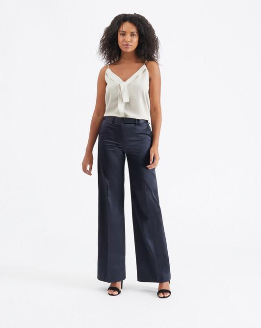 Satin-poplin pants - Encre