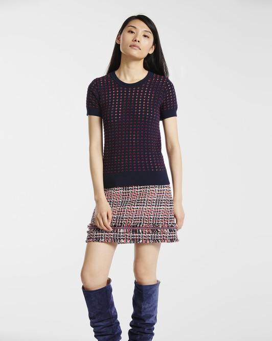 Sweater in openwork viscose - Marine / rouge