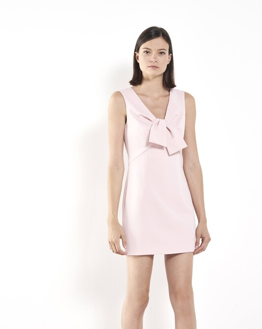 Satin-back crepe dress - Rose pale