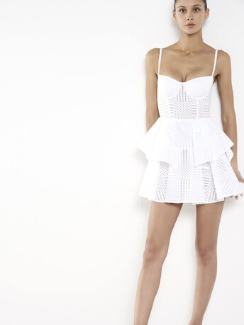 Robe en coton percé - Blanc