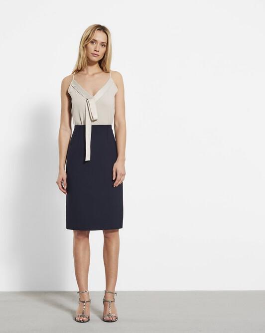Stretch tricotine skirt - Navy blue