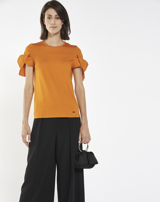 Stretch-cotton jersey t-shirt - Tangerine