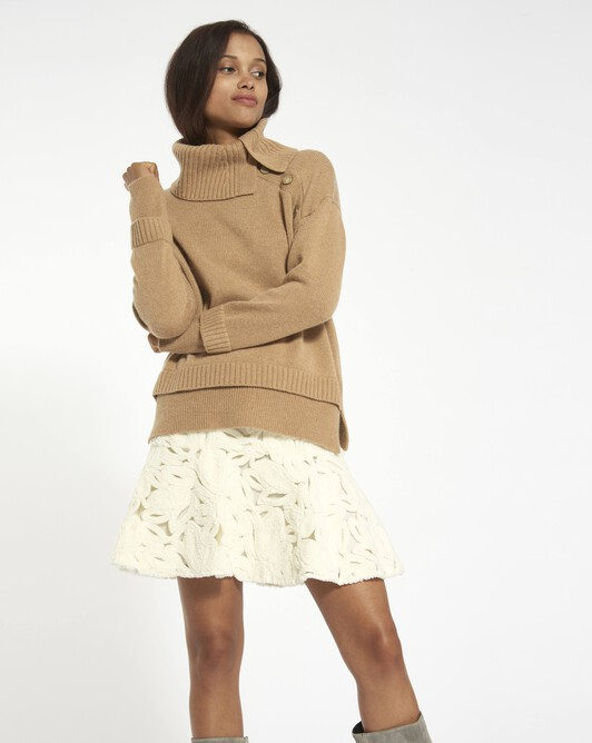 Wool cashmere blend sweater - camel
