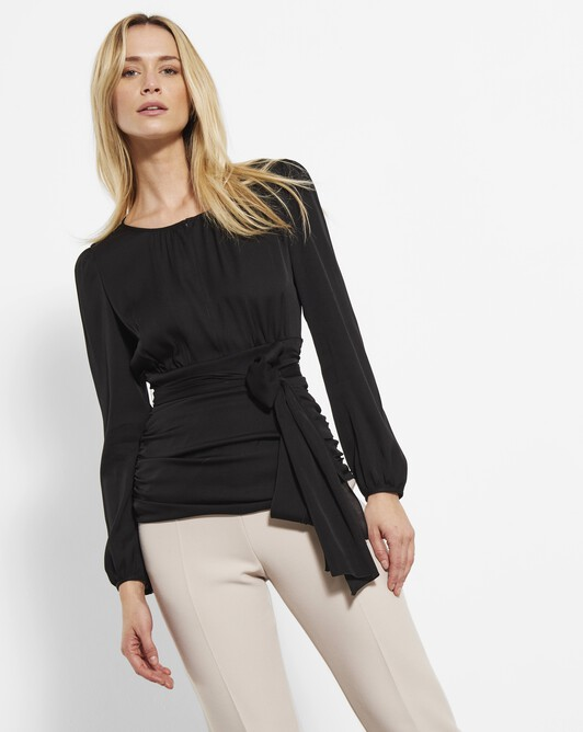 Stretch charmeuse top - Noir