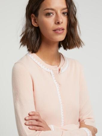 Cardigan long en laine et cachemire - Poudre / blanc casse