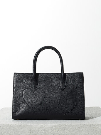 Grained-leather bag - Noir
