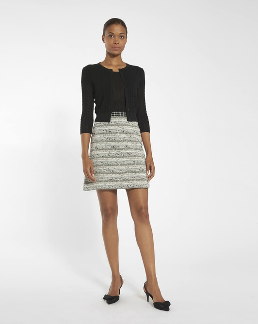 Fine black and white tweed skirt - Black / white
