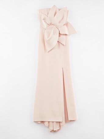 Robe longue bustier en crêpe envers satin - Poudre