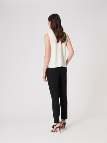 Satin-back crepe top - Off white