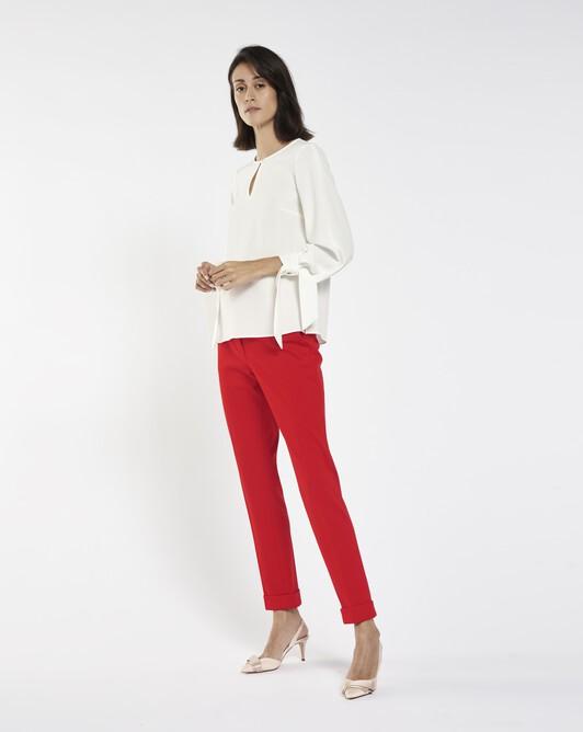 Pantalon en milano - Groseille