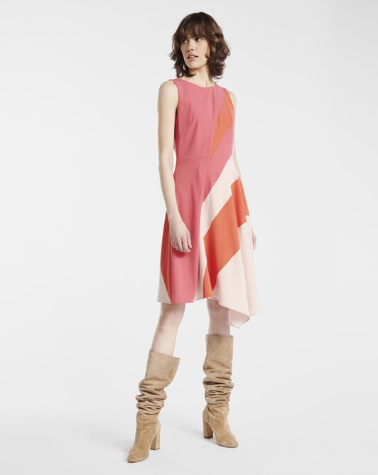 Dress in satin-back crepe - Pink / poudre