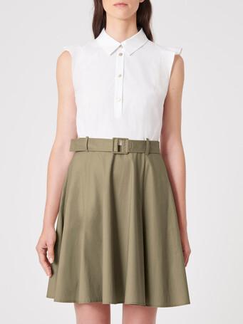 Cotton poplin dress - White / taupe