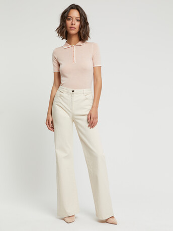 Merino wool sweater - Poudre / blanc casse