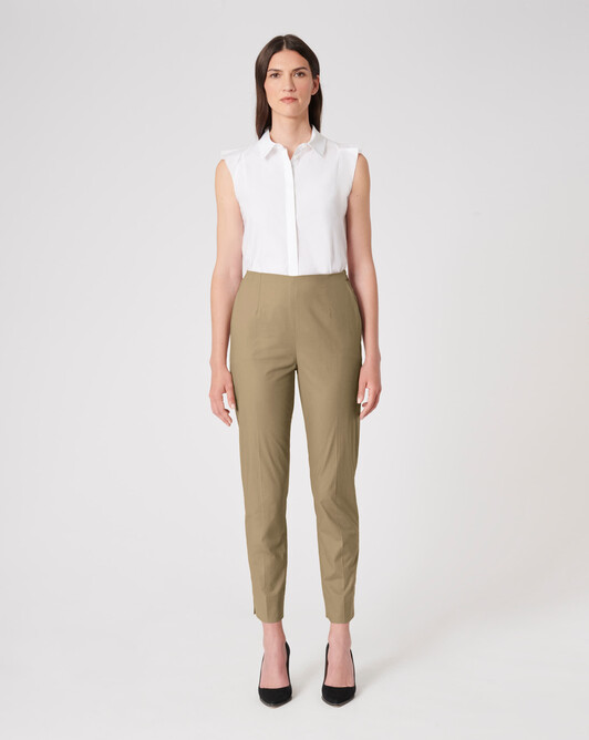 Cotton poplin pants - Taupe