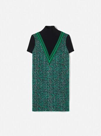 Two-tone tweed dress - Noir / emeraude