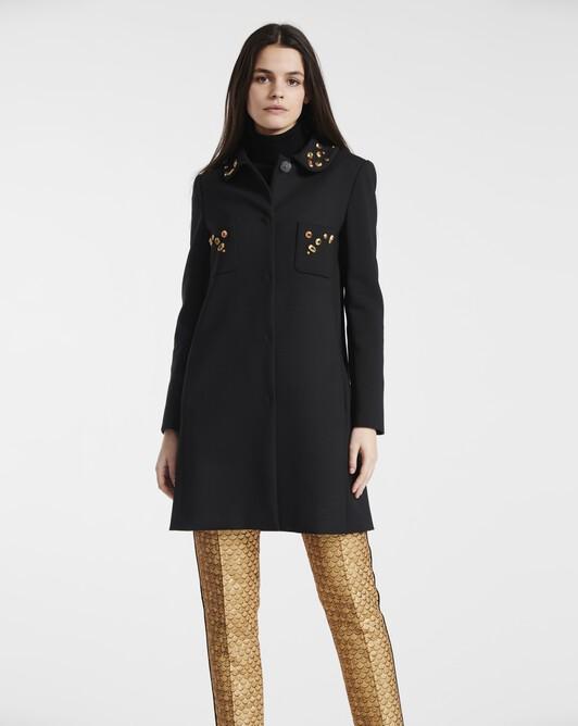 Manteau en tricotine de laine - Noir