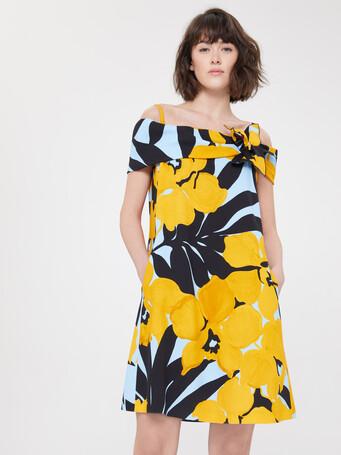 Robe en crêpe imprimèe fleur d'orient - Curcuma / noir