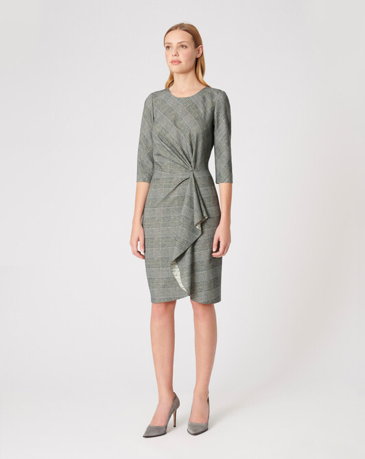 Robe en flanelle - Noir / blanc casse