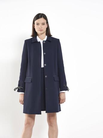 Stretch tricotine coat - Navy blue