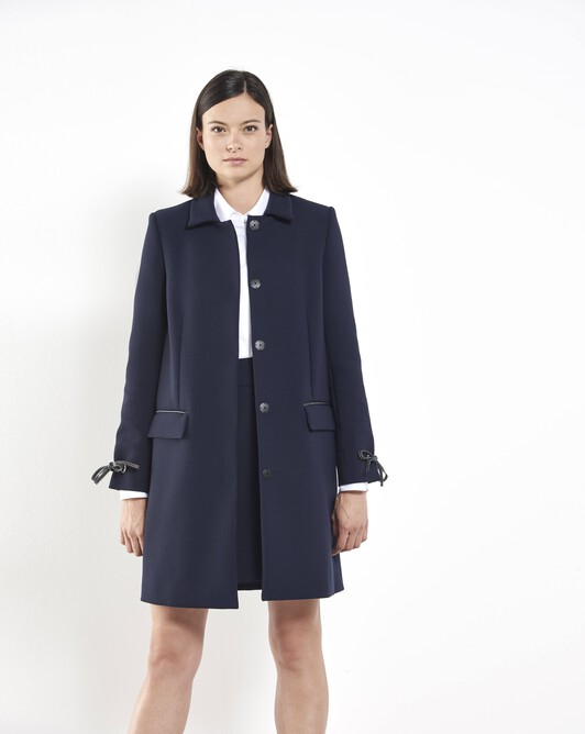 Stretch tricotine coat - Navy blue